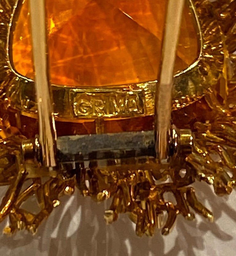 Andrew Grima Citrine, Diamond Yellow Gold Textured Wire Brooch Earring Large Set For Sale 5
