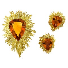 Andrew Grima Citrine, Diamond Yellow Gold Textured Wire Brooch Earring Large Set