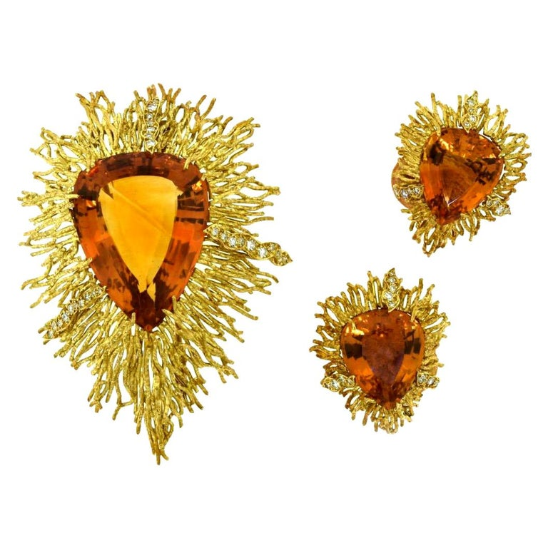 Andrew Grima Citrine, Diamond Yellow Gold Textured Wire Brooch Earring Large Set For Sale