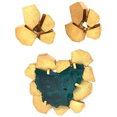 Andrew Grima Dioptase and Gold Pendant / Brooch and Earrings, 1970s