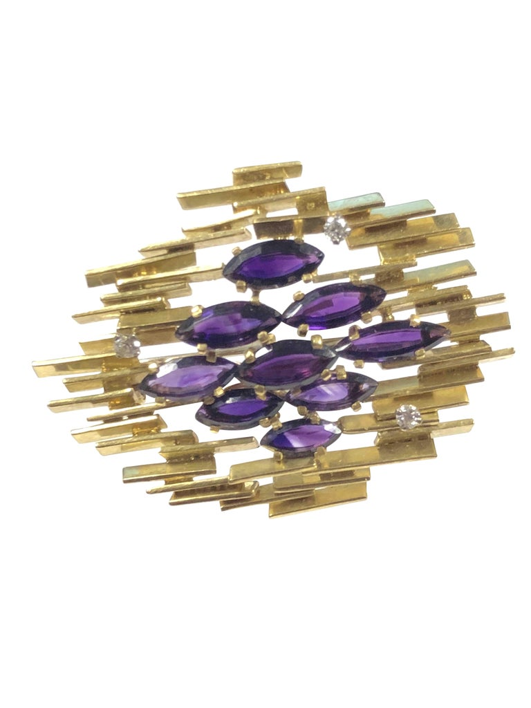 Women's or Men's Alan  Gard Leading British Designer Large Modernist Gold Diamond Amethyst Brooch For Sale