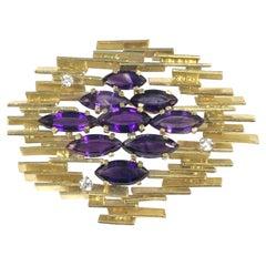 Alan  Gard Leading British Designer Large Modernist Gold Diamond Amethyst Brooch