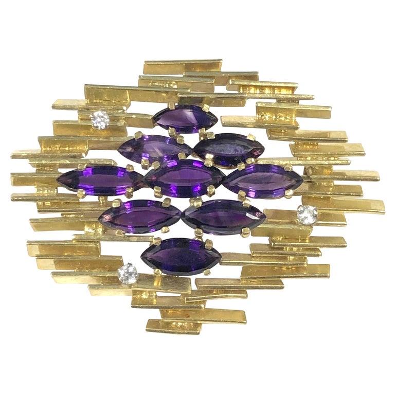 Alan  Gard Leading British Designer Large Modernist Gold Diamond Amethyst Brooch For Sale