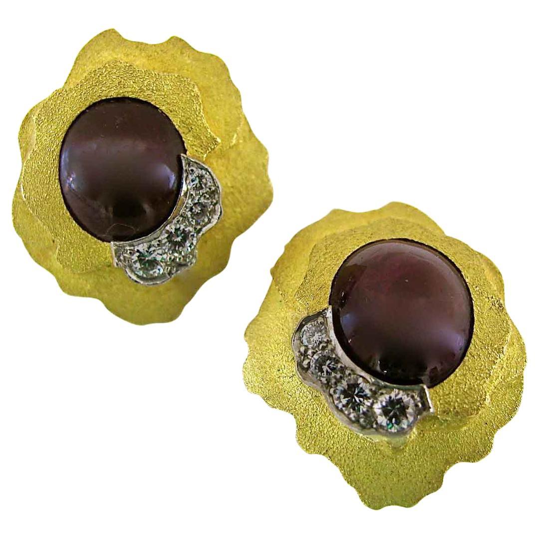 Andrew Grima Ruby Diamond Gold Earrings, 1970