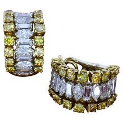 Andrew Grima White and Yellow Diamond Half-Hoop Earrings