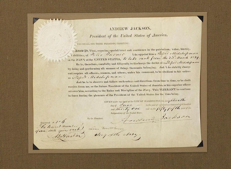 This is a signed military appointment by Andrew Jackson. Andrew Jackson was the seventh president of the United States and a hero of the war of 1812. The appointment is dated June 18, 1831 and countersigned by Levi Woodbury, the Secretary of the
