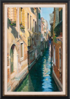 """Afternoon Canal"" Original Oil Painting on Canvas by Andrew Jones, Framed"