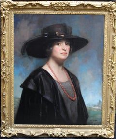 Portrait of Mrs French - Scottish 20s art female portrait oil painting landscape