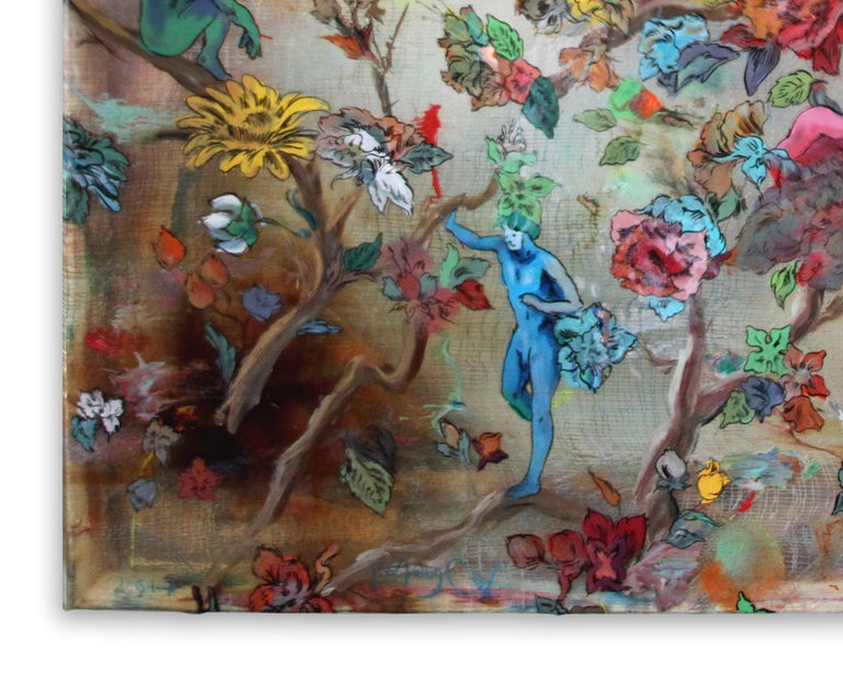 Hanging on the Vine - brightly colored floral design, ink on cheesecloth - Brown Figurative Painting by Andrew LeMay Cox