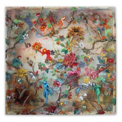 Hanging on the Vine - brightly colored floral design, ink on cheesecloth