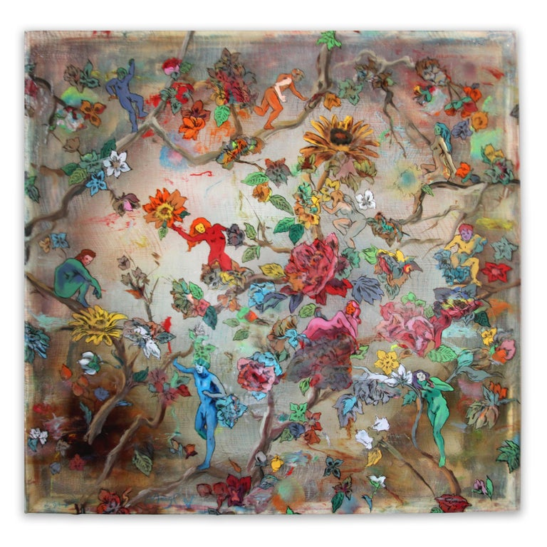 Andrew LeMay Cox Figurative Painting - Hanging on the Vine - brightly colored floral design, ink on cheesecloth