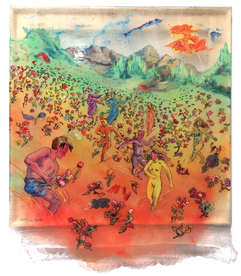 Andrew LeMay Cox Figurative Painting - Wild Fire - brightly colored scene with nude figures, ink on cheesecloth