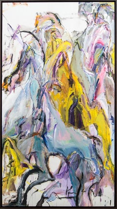 Anthem - yellow, blue, pink, gestural, abstract, acrylic, ink, horses