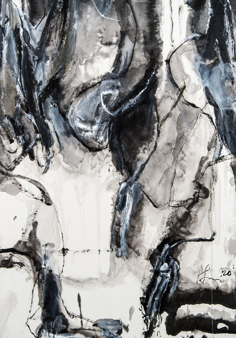 Being Timelessness as it is to Time II - gray, gestural, abstract, acrylic, ink - Gray Abstract Painting by Andrew Lui