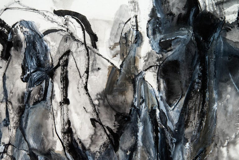 Being Timelessness as it is to Time II - gray, gestural, abstract, acrylic, ink For Sale 1