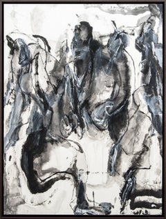 Being Timelessness as it is to Time II - gray, gestural, abstract, acrylic, ink