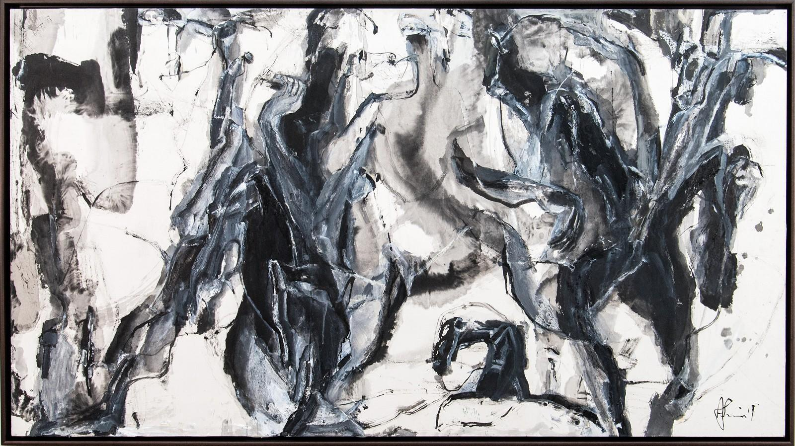 Epic of Darkness - black, gray, gestural, abstract, acrylic, ink, mixed media