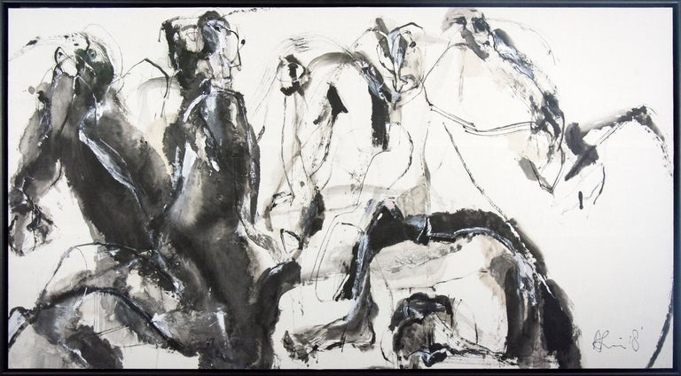 Gestural lines in black and grey coalesce in this dynamic abstracted painting of horse and rider by Andrew Lui.    Born in Guangzhou, China, Lui participated in the Chinese Cultural Revolution as a member of the Red Guard but escaped to Hong Kong in