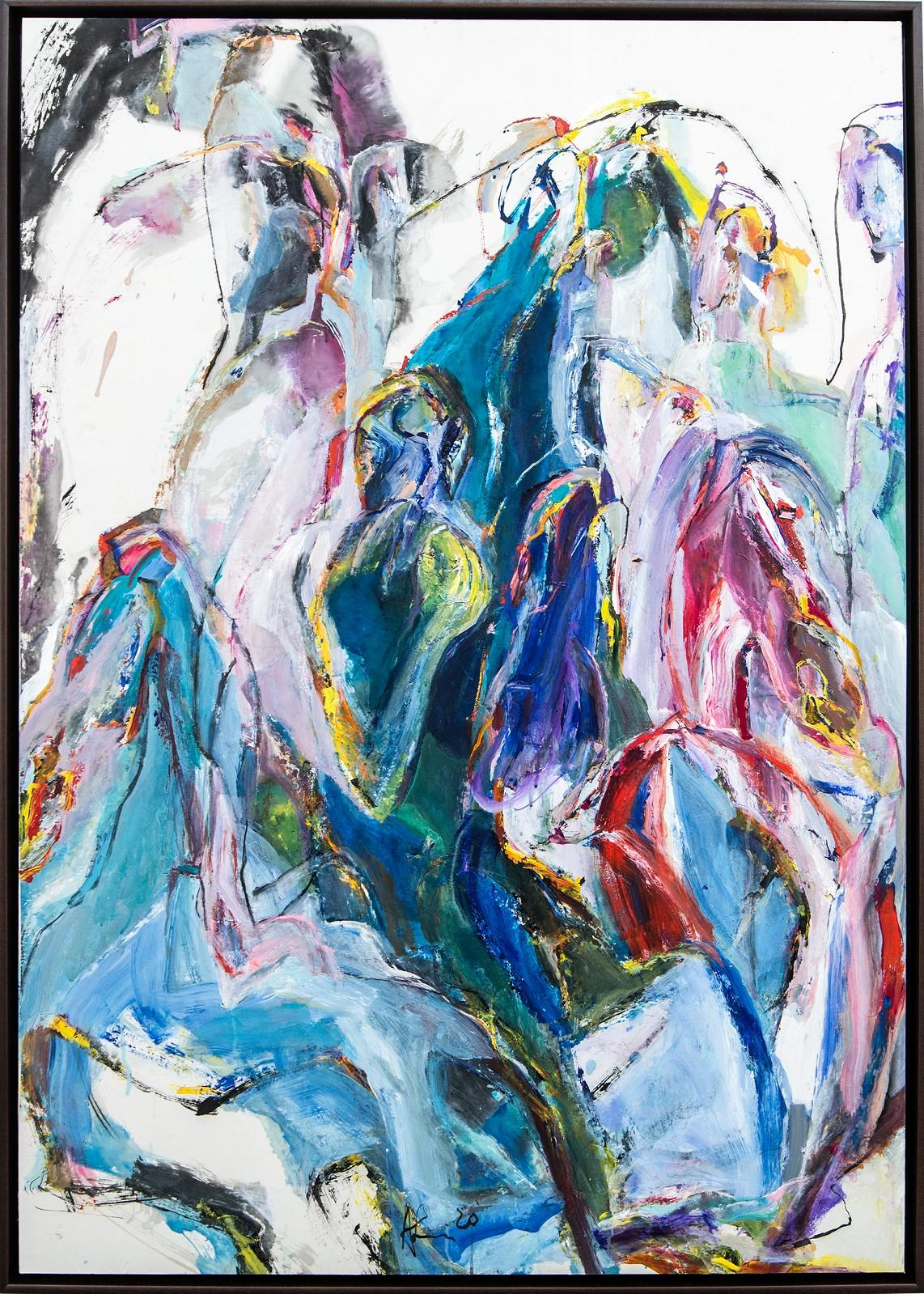 Flight to Egypt IV - pink, blue, gestural, abstract, acrylic, ink, mixed media