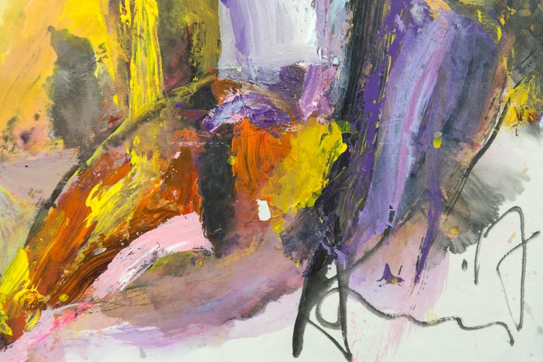 Gestural figures in pink and gold glide across the picture plane of this large, lyrical painting by Andrew Lui.    Born in Guangzhou, China, Lui participated in the Chinese Cultural Revolution as a member of the Red Guard but escaped to Hong Kong in