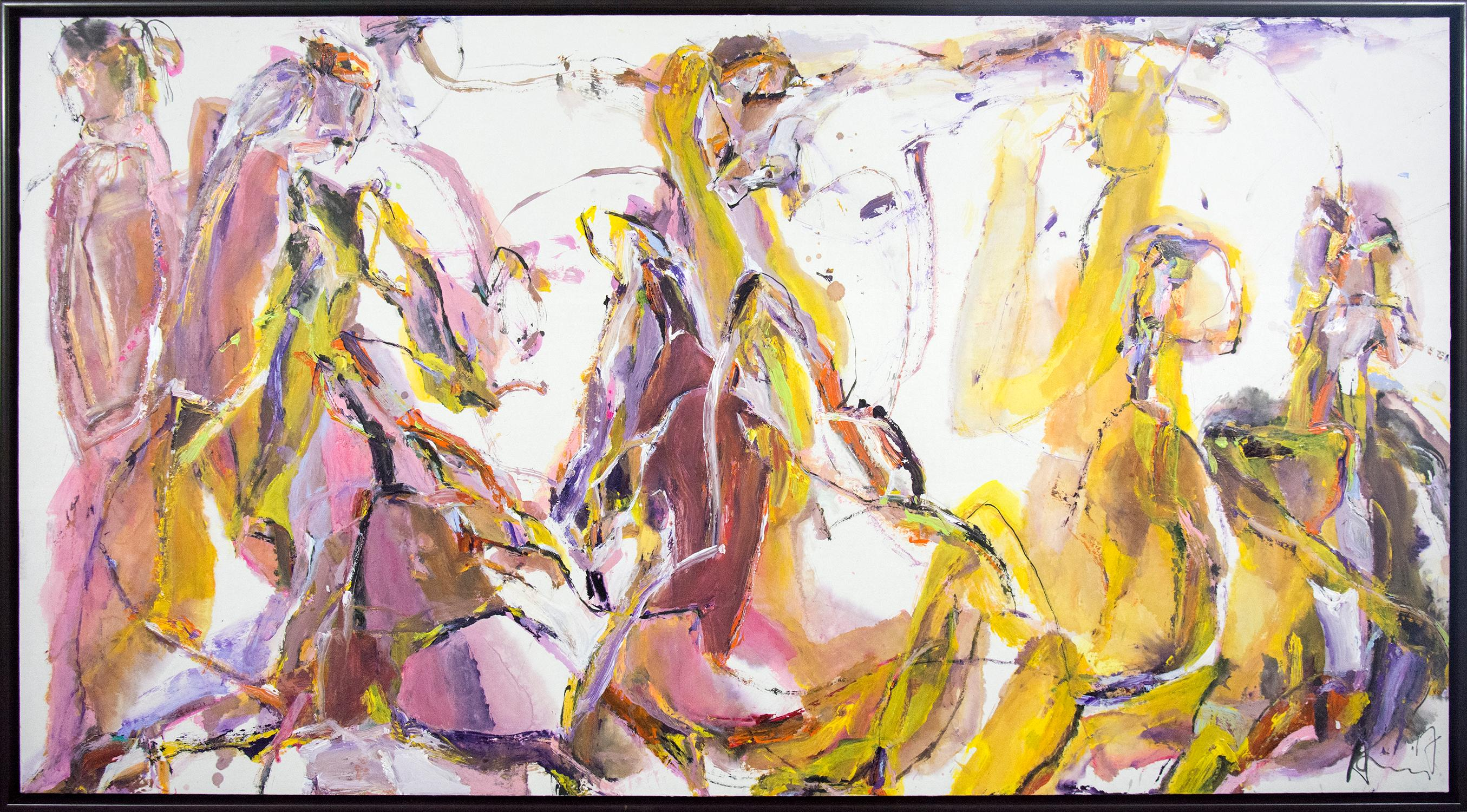 Pink Whisper - ink and acrylic gestural abstract figures in pink and gold