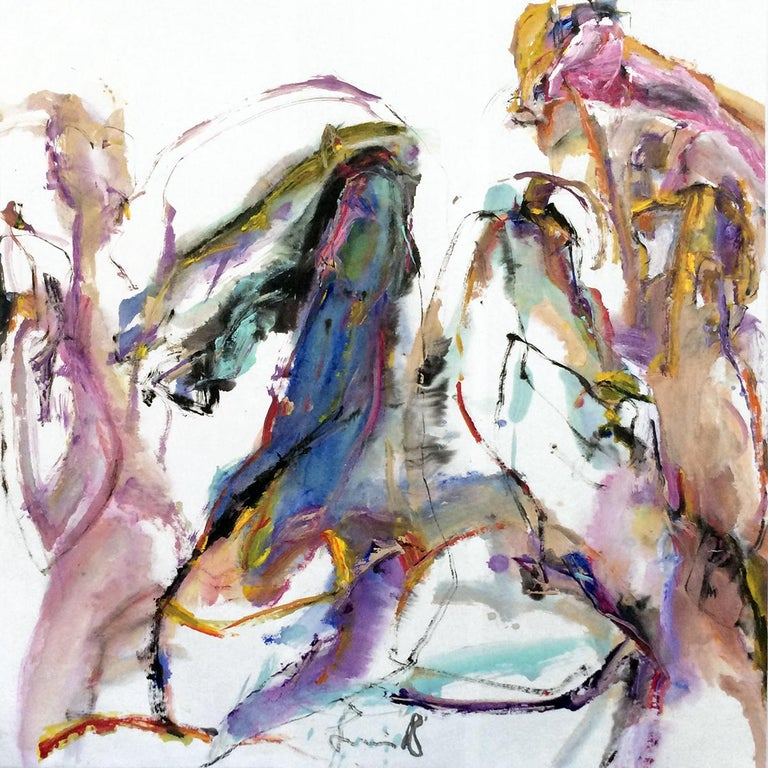 Tang Fung II - colorful abstracted horse and rider - Painting by Andrew Lui