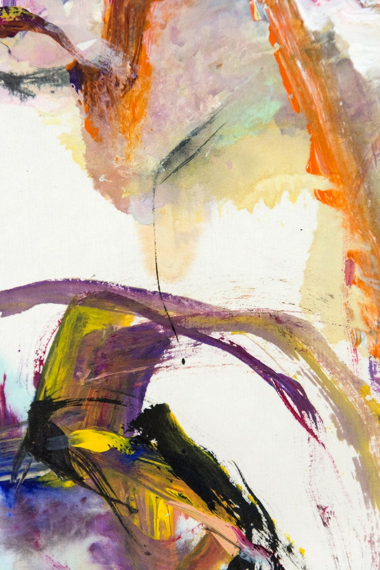 Tang Fung II - colorful abstracted horse and rider - Gray Abstract Painting by Andrew Lui