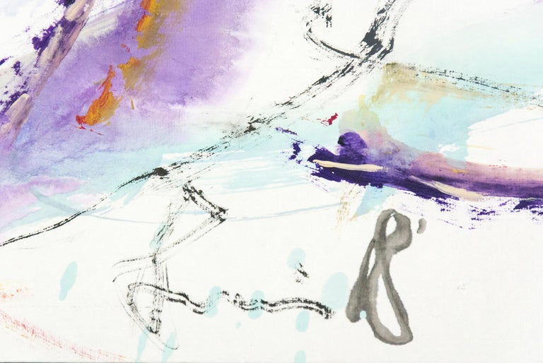 Gestural marks and swathes of fluid colour intersect in this dynamic narrative of horse and rider by Andrew Lui.     Born in China, Lui made his way to Canada where he studied at the Ontario College of Art. He completed further studies in the UK and