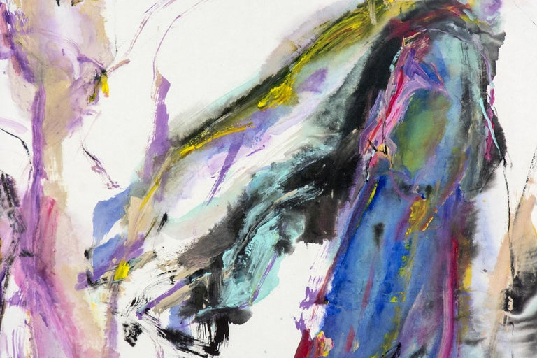 Tang Fung II - colorful abstracted horse and rider For Sale 1