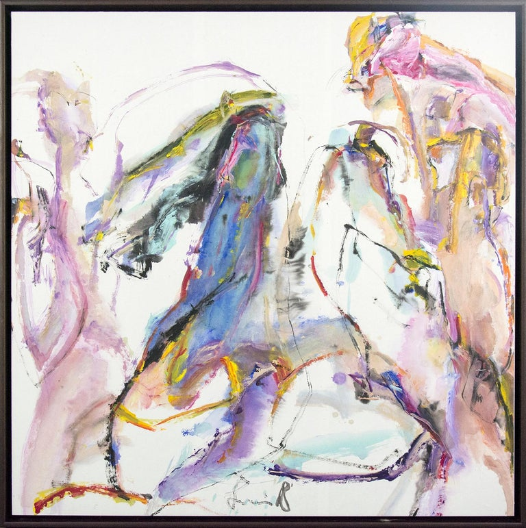 Andrew Lui Abstract Painting - Tang Fung II - colorful abstracted horse and rider