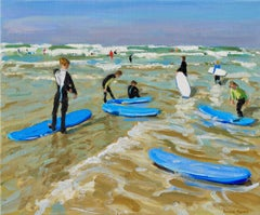 Blue surf boards, Bude