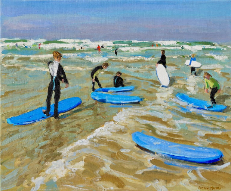 Andrew Macara  Landscape Painting - Blue surf boards, Bude