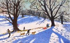 Christmas, Calke Abbey - 21st Century, Contemporary, Oil, Snow scene