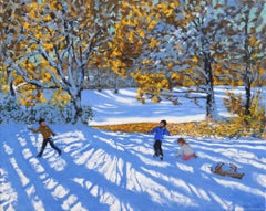 Early Snow, Allestree Park, Derby - 21st Century, Contemporary, Oil, Snow scene
