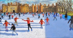 Girls in Red, Hampton Court Palace Ice Rink - 21st Century, Contemporary, Oil