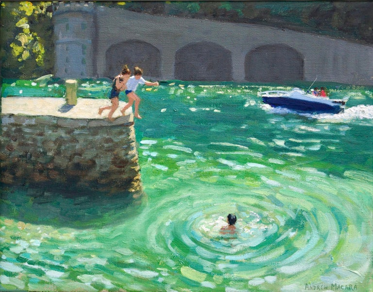 Andrew Macara  Landscape Painting - Jumping off the harbour wall, Looe