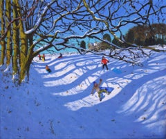 Sledging down the Gully, Dam Lane, Ashbourne - 21st Century, Contemporary, Oil,