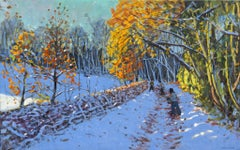 Snowballers, Allestree Park, Derby - 21st Century, Contemporary, Oil, Snow scene