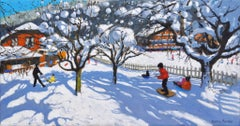 The Orchard, Morzine, France - 21st Century, Contemporary, Oil, Snow scene