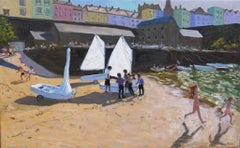 The Sailing Lesson, Tenby - 21st Century, Contemporary, Oil, landscape