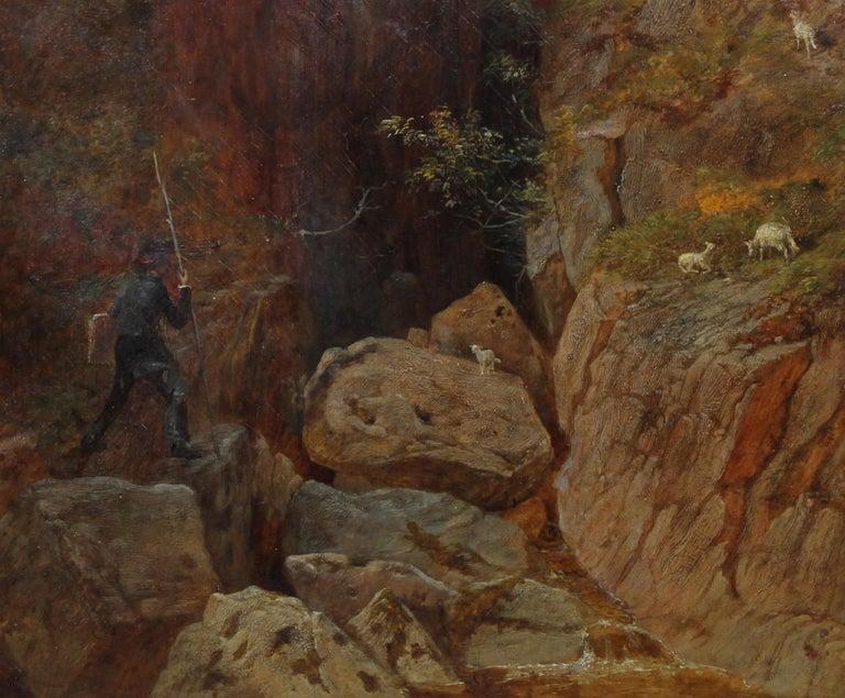 Scottish Mountainous Landscape - Victorian art self portrait oil painting  - Brown Landscape Painting by Andrew McCallum