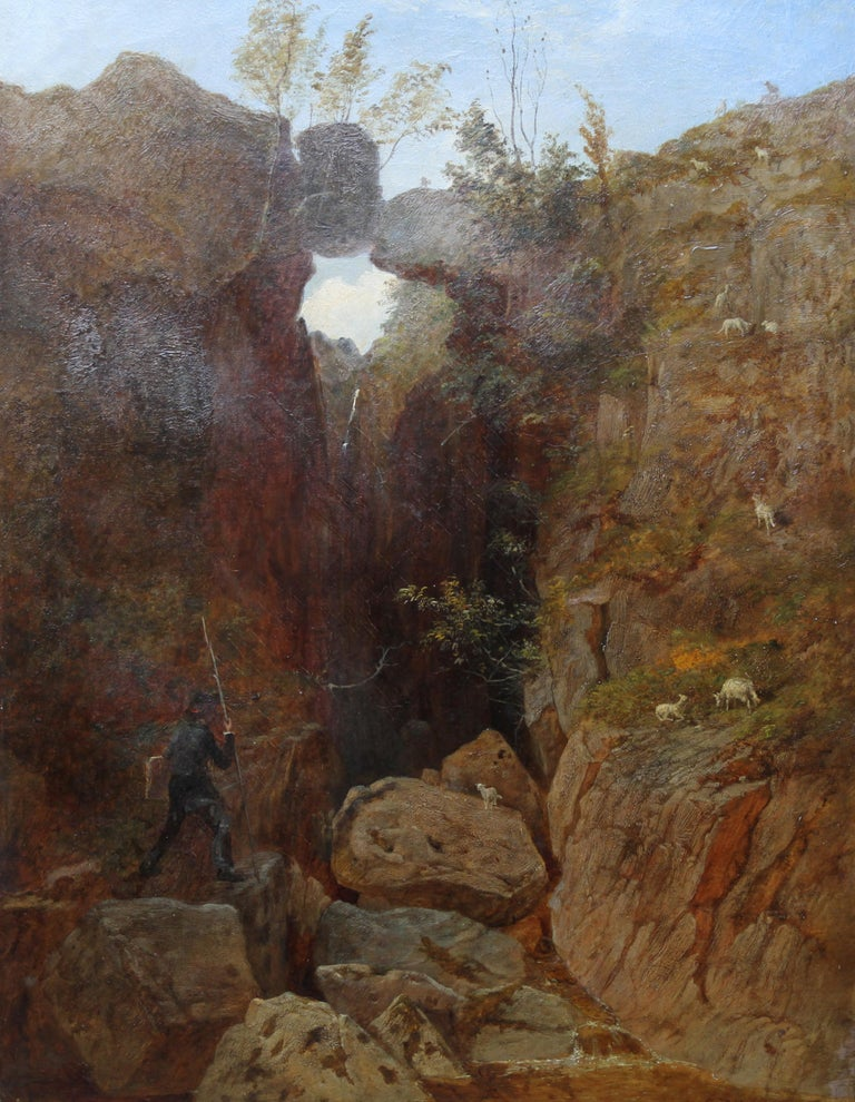 Scottish Mountainous Landscape - Victorian art self portrait oil painting  For Sale 7
