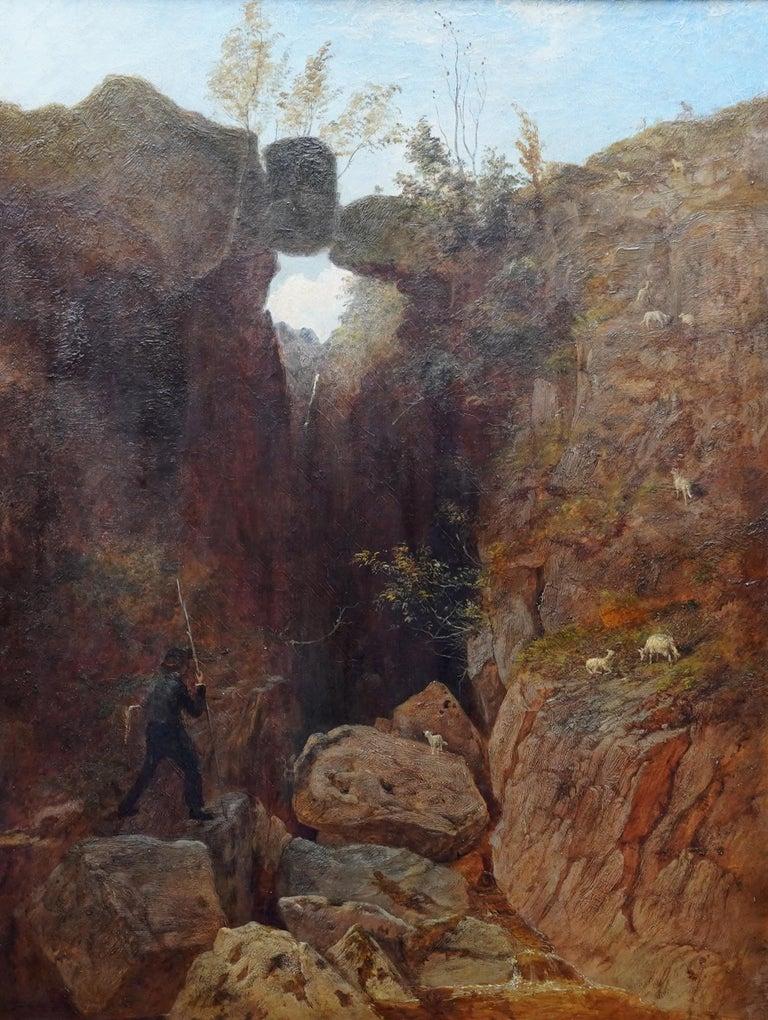 Scottish Mountainous Landscape - Victorian art self portrait oil painting  For Sale 4