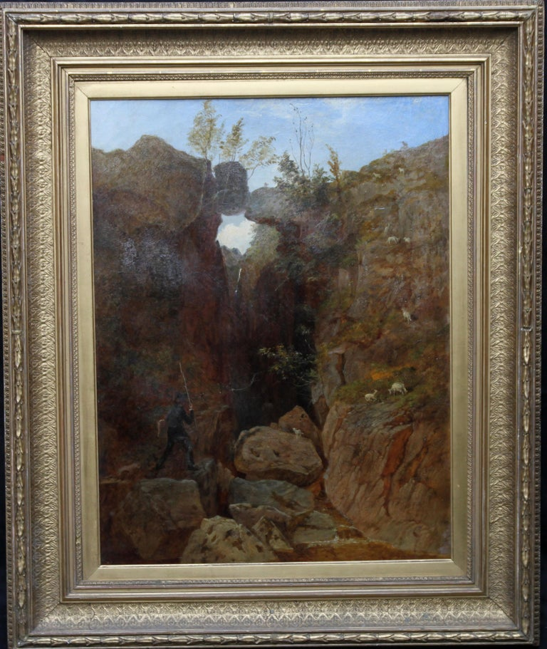 Scottish Mountainous Landscape - Victorian art self portrait oil painting  For Sale 8