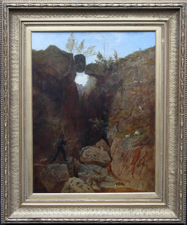 A fine large oil on canvas which dates to circa 1870 by noted British landscape artist Andrew McCallum RA. This stunning painting depicts the artist carrying an easel in a rocky mountainous landscape with sheep scattered amongst the rocks. A