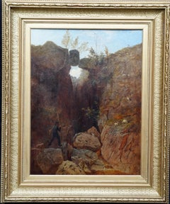 Scottish Mountainous Landscape - Victorian art self portrait oil painting