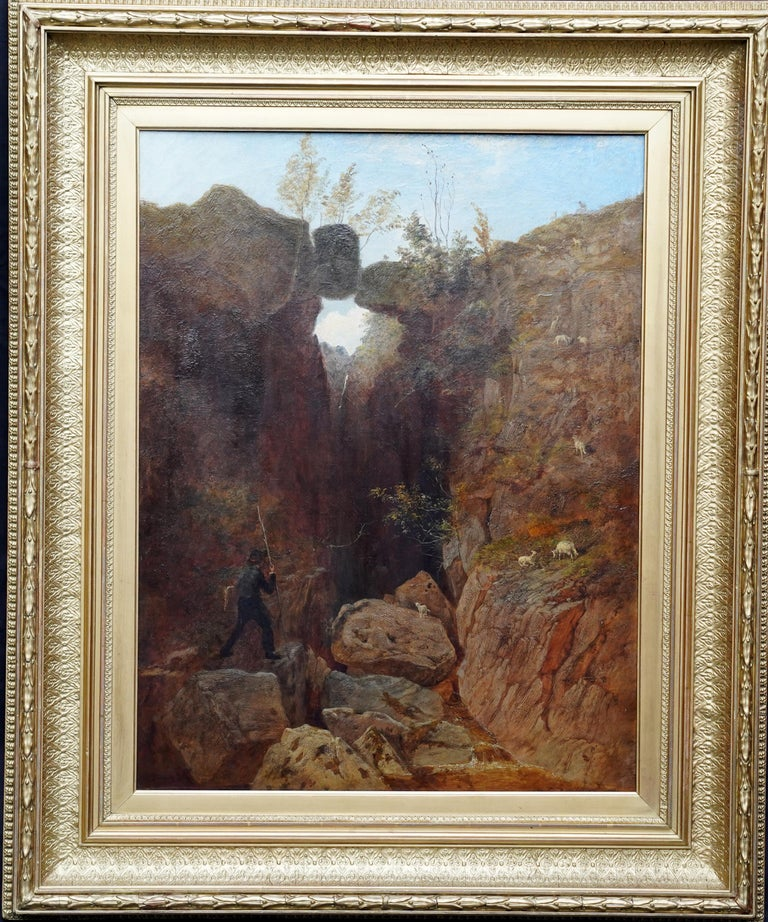 Andrew McCallum Landscape Painting - Scottish Mountainous Landscape - Victorian art self portrait oil painting