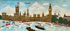 Naive London Street Scene Folk Art Oil Painting Big Ben, Parliament, Union Jack
