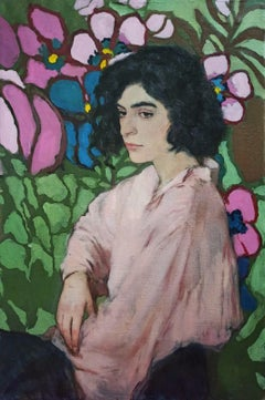 Female on Floral Background. Ashkhen - 21st Century Contemporary Oil Painting