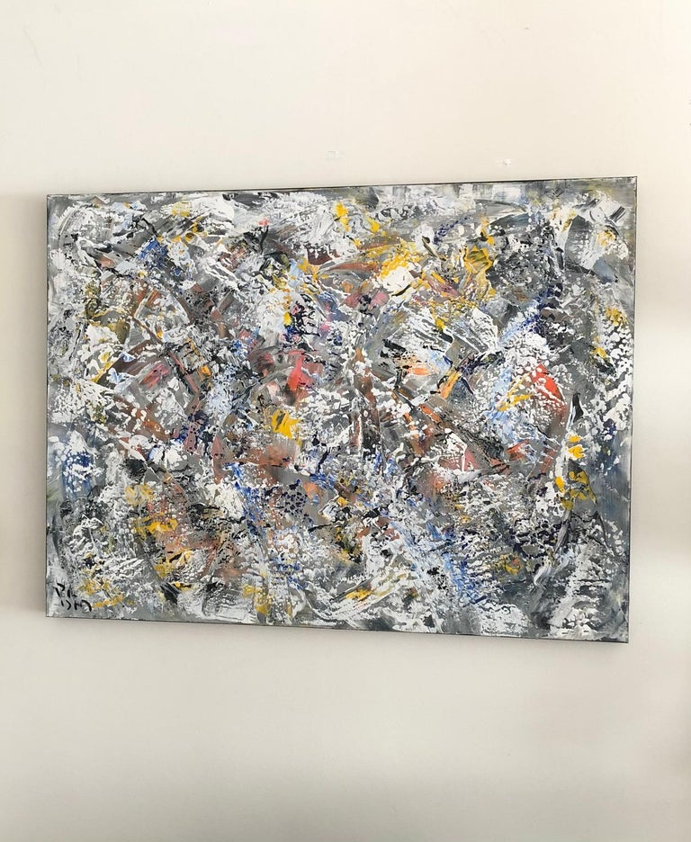"""""""Winter Vortex"""" is an original, one of a kind, white, yellow, black, gray, red, blue contemporary, acrylic on canvas abstract painting. Vibrant pops of color work in harmony to create this unique, contemporary work of art by Andrew Plum. Signed,"""